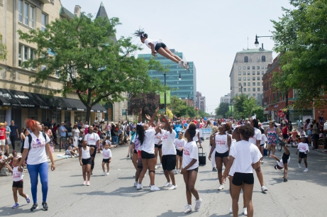 Cheerleaders from Technique Gems perform during the 26th annual 4th on 53rd Parade, Tuesday, July 4, 2017.