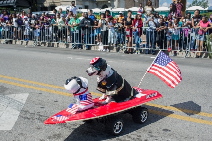 A dog dressed in a fireman's slicker rides a toy electric car during the 88th annual Bud Billiken Parade, Saturday, August 12, 2017.