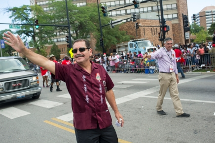 "Cook County Commissioner and former mayoral candidate Jesus ""Chuy"" Garcia marches with 22nd Ward Alderman Ricardo ""Rick"" Muñoz during the 88th annual Bud Billiken Parade, Saturday, August 12, 2017."