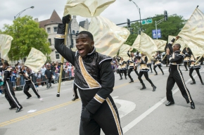 South Shore Drill Team members perform during the 88th annual Bud Billiken Parade, Saturday, August 12, 2017.