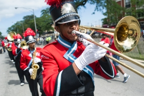The Kenwood Academy Marching Broncos participate in the 88th annual Bud Billiken Parade, Saturday, August 12, 2017.