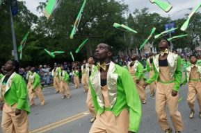 A drill team performs during the 88th annual Bud Billiken Parade, Saturday, August 12, 2017.