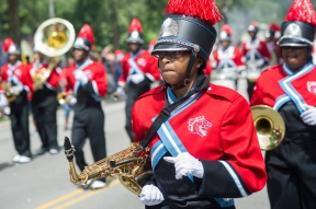 The Kenwood Academy Marching Broncos perform during the 88th annual Bud Billiken Parade, Saturday, August 12, 2017.