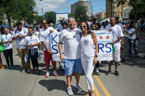 City of Chicago Treasurer Kurt Summers, his wife Helen and supporters stop for the camera during the 88th annual Bud Billiken Parade, Saturday, August 12, 2017.