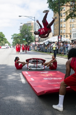 The Jesse White Tumblers perform during the 88th annual Bud Billiken Parade, Saturday, August 12, 2017.