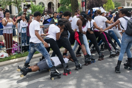 A group of in-line skaters perform during the 88th annual Bud Billiken Parade, Saturday, August 12, 2017.