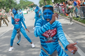 A group of dancers perform during the 88th annual Bud Billiken Parade, Saturday, August 12, 2017.